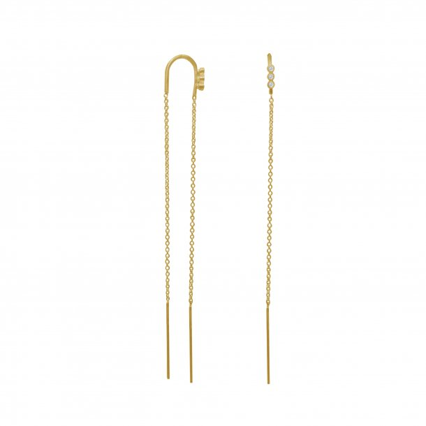 Stine A - Three Dots Double Chain Earring Gold
